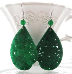 Carved Jade Earrings Green Drop Dangle By Sofiasbijoux