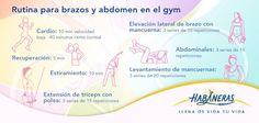 Muchas veces cuando vamos al gym no sabemos qué hacer o qué aparato usar para trabajar determinadas partes de nuestro cuerpo. Por eso, queremos darte una rutina en la que trabajarás brazos y abdomen.