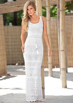 The White multi Crochet maxi dress that's perfect for the beach or a night on the boardwalk! Available in sizes XS-XL