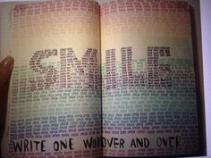 Wreck This Journal ideas: write one word over and over again