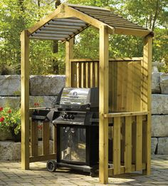 Pergola With Metal Roof Info: 4700662006 Backyard Bar, Backyard Landscaping, Bbq Shelter Ideas, Outdoor Rooms, Outdoor Living, Bbq Shed, Outdoor Grill Station, Grill Gazebo, Bbq Cover