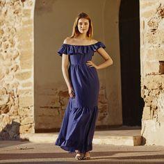 Vestido Largo Azul Volante - EUSTYLE