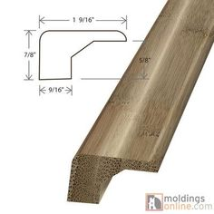 """Moldings Online 0.88"""" x 1.56"""" x 72"""" Square Nose"""