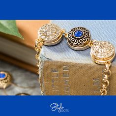 Classic 3 Dot Gold Bracelet with Diamond Ice and Blue Signature Gold Dots from Style Dots! Style with me at https://suzanne.styledotshome.com