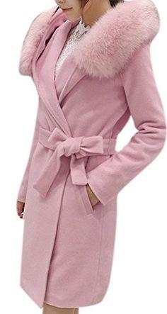 Women s Elegant Faux Fox Fur Hooded Dress-Coats Turn-Down Collar Long Pea  Trench ac27582bdc6