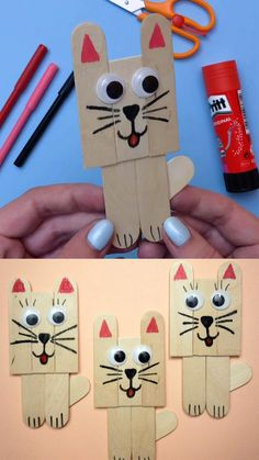 cat crafts for kids / cat crafts ; cat crafts for kids ; cat crafts for toddlers ; cat crafts for kids easy ; cat crafts for adults ; cat crafts for kids art projects Popsicle Stick Art, Popsicle Stick Crafts For Kids, Craft Stick Crafts, Craft Art, Craft Kids, Toilet Paper Crafts, Craft Sticks, Children Crafts, Paper Crafts Kids