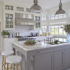 images white kitchen cabinets. Grey and white kitchen by Urban Grace Interiors All White Kitchen with Mini Subway Tile Backsplash  Home Decorating