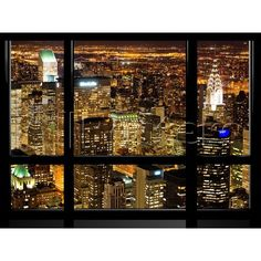 Window View, Special Series, Landscape by Night, Manhattan, New York... ($35) ❤ liked on Polyvore featuring home, home decor, wall art, backgrounds, rooms, landscape wall art, photography wall art, window wall art, new york city wall art and nyc home decor