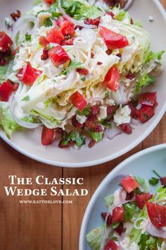 Classic wedge salad with blue cheese dressing