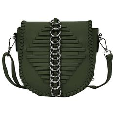 Green Whipstich Metal Ring Crossbody Bag ($13) ❤ liked on Polyvore featuring bags, handbags, shoulder bags, cross body, green crossbody, crossbody shoulder bag, crossbody purse and metal purse