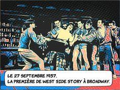 """27 septembre 1957 .. West Side Story : première à Broadway .. La comédie musicale de Leonard Bernstein débute au """"Winter Garden"""" sur Broadway à New York. Dès les premières représentations c'est un véritable succès. Le mythe de Roméo et Juliette dans les quartiers populaires new-yorkais des années 50 sera joué 734 fois avant son adaptation au cinéma en 1961. .. #Histoire West Side Story, Broadway, Comic Books, New York, Romeo And Juliet, Musical Theatre, September, Beginning Sounds, New York City"""