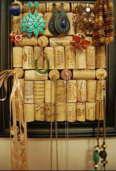Wonderful corks idea - save all wine bottle's corks and make a DIY jewellery rack