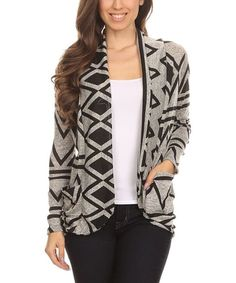Gray Geometric Cocoon Cardigan
