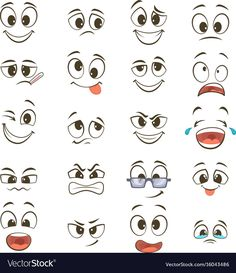 Cartoon happy faces with different expressions Vector Image Rice&Caricature Cartoon Faces Expressions, Drawing Cartoon Faces, Cartoon Eyes, Cute Cartoon Faces, Drawing Expressions, Cartoon Art, Cartoon Characters, Happy Face Drawing, Emoticon