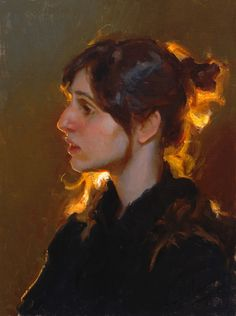 """Backlight"" - Mike Malm, oil on canvas, 2011 {figurative artist female head glow woman face profile portrait painting #loveart} <3 mikemalm.com"