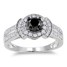 Miadora 14k White Gold 1ct TDW Black and White Diamond Halo Ring (G-H, I1-I2)