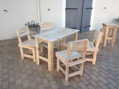 Pallet table & chairs. Check craigslist for free pallets.
