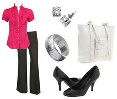 Casual Business Attire for Women ***Simple and my style, just tone down the intensity of the top, and use a narrow bracelet***