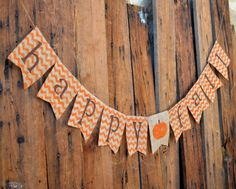 Happy Fall CHEVRON BURLAP banner for Halloween