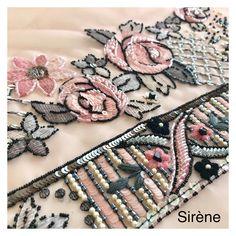 Zardosi Embroidery, Hand Embroidery Dress, Kurti Embroidery Design, Tambour Embroidery, Bead Embroidery Patterns, Couture Embroidery, Embroidery Fashion, Hand Embroidery Designs, Ribbon Embroidery