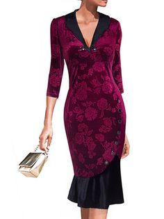Mermaid Turn Down Neck Flowers Pattern Half Sleeve Zipper Sibgle-Row Buttons Sheath Dress on buytrends.com