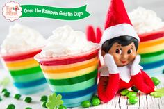 Gather your loved ones this weekend and try this delicious pot of gold: Rainbow Gelatin Cups! St. Patrick's Day will be here before you know it! | St. Patrick's Day Ideas | Family Recipes | Family Activities | St. Patrick's Day Recipes | Elf on the Shelf