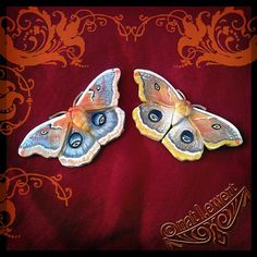 Polyphemus Moth Brooch Pin-Polymer Clay Jewelry by dreamtrappings