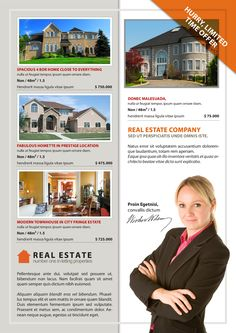 This InDesign template is for Real estate property listing flyer. It's a single-page document that can be used by real estate agents to showcase four properties.