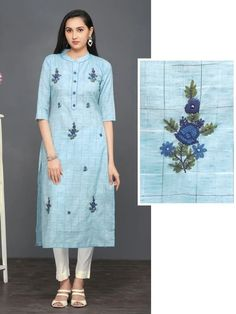 Discover recipes, home ideas, style inspiration and other ideas to try. Simple Kurti Designs, New Kurti Designs, Kurta Designs Women, Kurti Designs Party Wear, Designs For Dresses, Salwar Designs, Embroidery On Kurtis, Hand Embroidery Dress, Kurti Embroidery Design