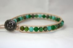 Beaded leather anklet  turquoise green beaded by mvtreasures, $16.00