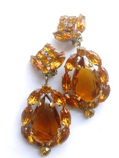 Czech Amber Statement Earrings Retro Mad Men Fashion Couture Runway Jewelry