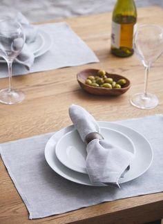 Blarney Irish Linen Grey Chambray Napkins x - Chambray, Placemat Sets, Napkins Set, Tableware, Home Decor, Design, Dinnerware, Decoration Home, Room Decor