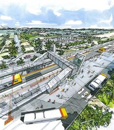 THE FUTURE-  This image is a design project for a central train station the northern suburbs.  Giving the area a nicer and more efficient loading zone for passengers will increase the passengers that actually hop on board a train. Also a newly updated train line, makes the area look more better which could possibly increase potential buyers in the area.