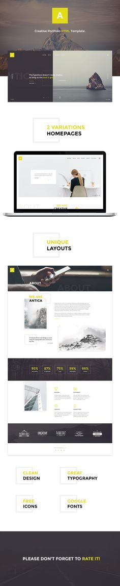 Antica is a simple and interesting HTML Template for Business agency, design studio, web-development company or freelancer.   Website template is not complicated with excess details...