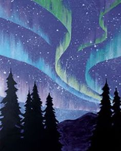 """Social Artworking Canvas Painting Design - Northern Lights The Aurora Borealis, or """"Northern Lights"""", is an otherworldly spectacle seen in the northern hemisphere. This phenomenon, named in 1619 by Galileo after the Roman goddess of dawn, Aurora, and the Greek name for the north wind, Boreas, has long held a mystical quality for all who see it. CANVAS SIZE: 16"""" x 20"""" TIME TO PAINT: approximately 2 hours 30 minutes"""