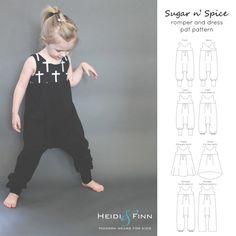 Sugar n' Spice romper and dress PDF pattern and door heidiandfinn