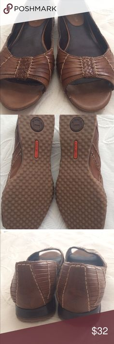 Cole Haan peep toe wedge leather sandals Excellent used condition!  Brown leather with peep toe with wedge heel and Nike Air technology. Cole Haan Shoes Sandals