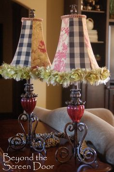 like these fabric covered lampshades - from Beyond the Screen Door. Like the mix of fabrics.