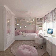 15 Cute Bedroom Ideas for Girls - Cool Bedroom Design Pink Bedroom Decor, Bedroom Decor For Couples, Pink Bedrooms, Cute Bedroom Ideas, Girl Bedroom Designs, Dream Bedroom, Bedroom Themes, Teen Bedrooms, Young Girls Bedrooms