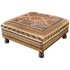 Classic Kilim design with a wonderfully convenient form makes the Santa Fe Ottoman a perfect fit for homes both traditional and today. Use this oversized ottoman as a footrest, cocktail table, or for extra guest seating, and full enjoy its timeless Middle Eastern design.