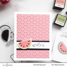 Cute Watermelon, One In A Melon, Juicy Fruit, Mini One, Exotic Fruit, Altenew, Scrapbook Pages, Childhood Memories, Card Making