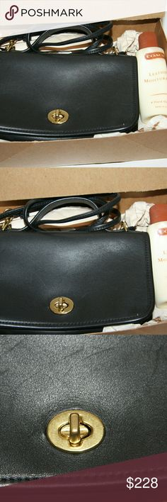 "New! Coach Purse Bonnie Cashin New! Never used.  MINT CONDITION! In original box.  Vintage Coach: ""The Dinky."" Black smooth leather. Petite crossbody bag.  Brass hardware. Original hang tag.  8"" wide. 5"" tall. 2"" deep.  Bonnie Cashing design twist closure.  Front flap.  Top carry handle.  Convertible strap can be doubled.  Versatile and petite! Can be carried as a shoulder bag, handbag, or crossbody.  Coach No. 9924.   D0304 Coach Bags Crossbody Bags"