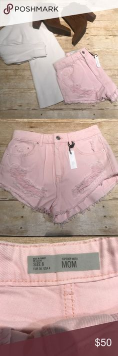 "NWT Pink Topshop 'Mom' High Waisted Shorts Pale pink. High waisted. Size EUR 36 or US 8. Waist: 13.5"", Inseam: 1.5"" Topshop Shorts Jean Shorts"