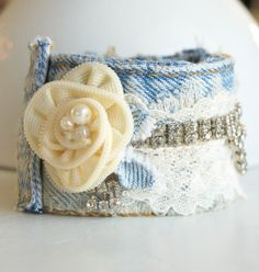 Upcycled Recycled Denim Jeans Ivory Zipper Flower and Rhinstones Cuff Bracelet