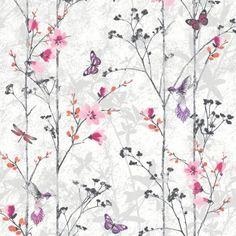 Muriva Eden Butterflies Wallpaper Pink (102550) - Muriva from I love wallpaper UK