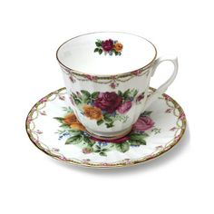 English Bone China Teacup and Saucer - Summer Roses with Garland
