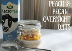 Overnight oats with peach and pecan
