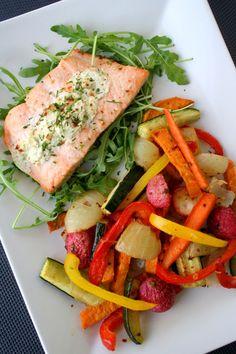 lindastuhaug | Fylt laks med ovnsbakte grønnsaker