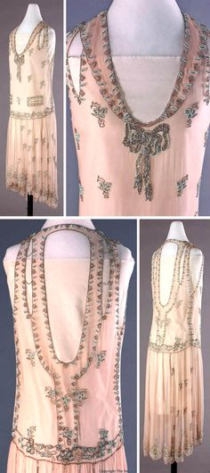 Evening dress, ca. 1928-29. Pink georgette dress embroidered with aqua & silver bugle beads & rhinestones. Rhinestone bow at base of V- neckline. Dropped waistline and uneven scalloped hemline. Very deep, curved V-shaped neckline in back. Machine & hand sewn. Dress is not labeled, but the design suggests that it might be a Peggy Hoyt. Detroit Historical Museum