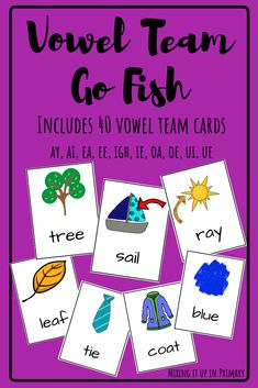 Vowel Team Go Fish is a great way for students to practice reading vowel team words with a friend! teams, Vowel Team Go Fish Reading Tutoring, Reading Intervention, Teaching Reading, Learning, Short Vowel Games, Vowel Activities, Phonics Activities, Teaching Vowels, Going Fishing